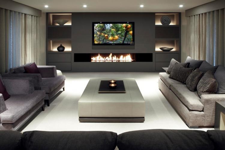 Телевизор с камином - Дизайн стены с телевизором