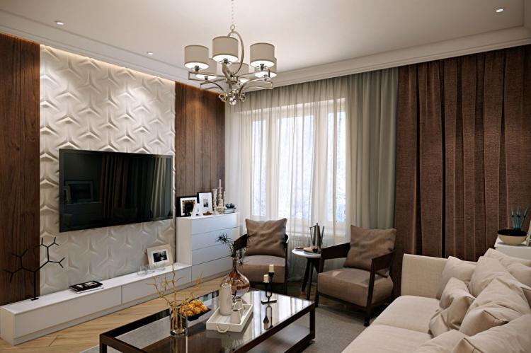 3D стена с телевизором - Дизайн