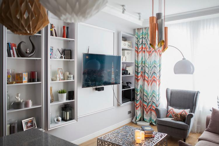 Ниша из гипсокартона - Дизайн стены с телевизором