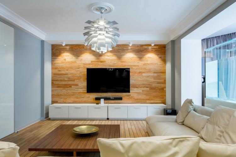 Ламинат на стене - Дизайн стены с телевизором