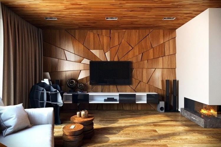 Деревянные панели или ламинат - Дизайн стены с телевизором