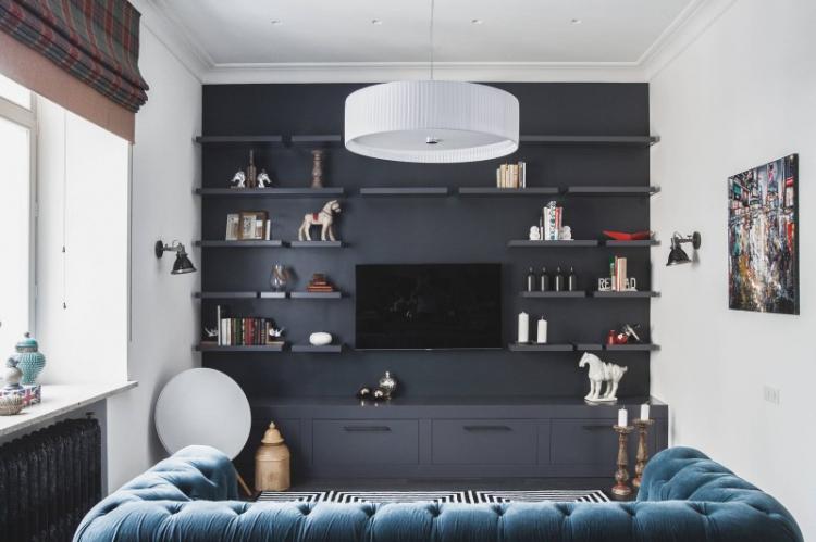 Полки - Дизайн стены с телевизором