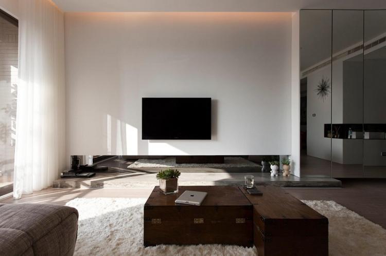 Дизайн стены с телевизором в стиле минимализм