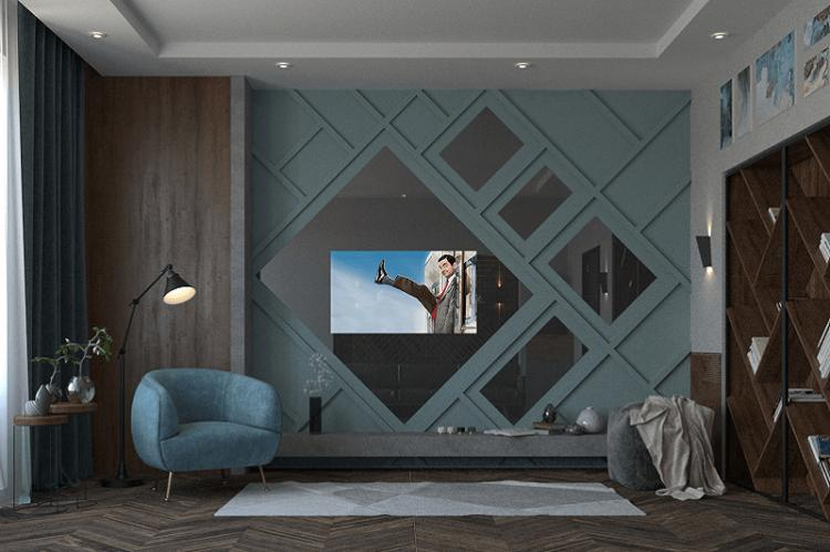 Зеркальная стена - Дизайн стены с телевизором