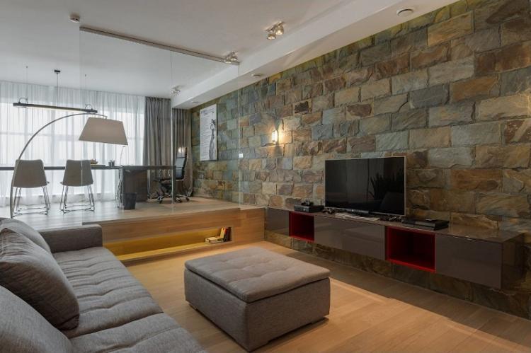 Декоративный камень - Дизайн стены с телевизором