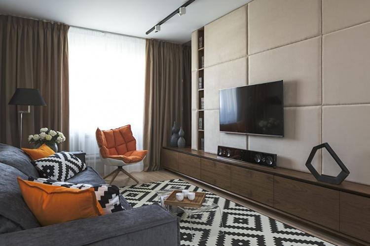 Отделка кожей - Дизайн стены с телевизором