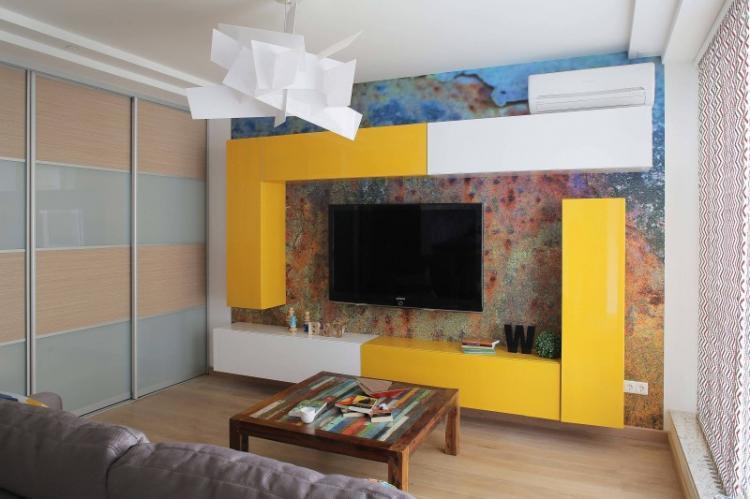 Фотообои - Дизайн стены с телевизором