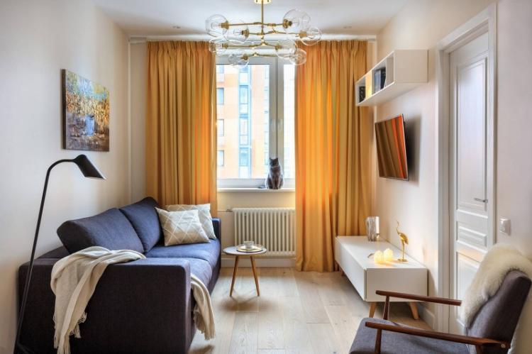 Узкая гостиная в современном стиле - Дизайн интерьера