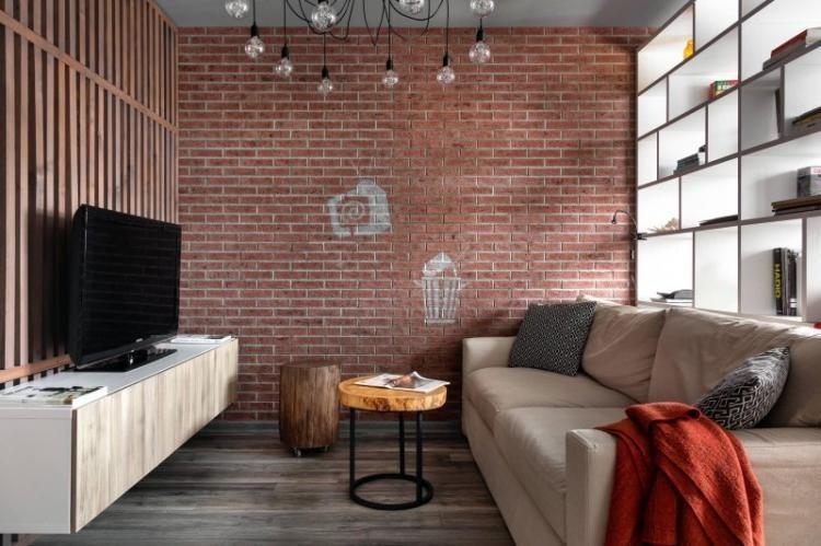 Узкая гостиная в стиле лофт - Дизайн интерьера