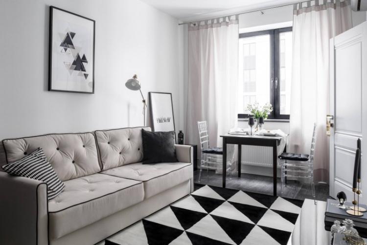 Узкая гостиная в скандинавском стиле - Дизайн интерьера