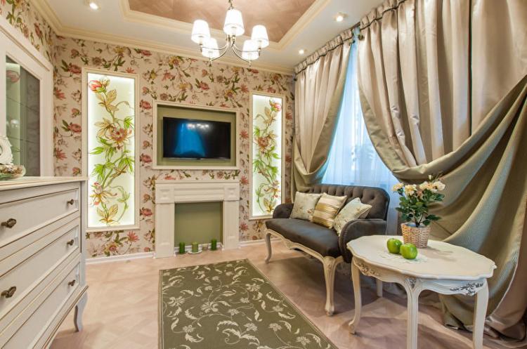 Узкая гостиная в стиле прованс - Дизайн интерьера