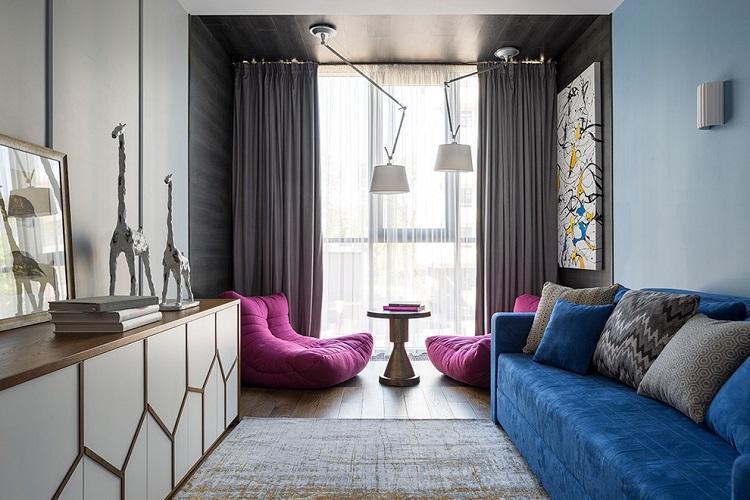 Цветовая гамма для узкой гостиной - Дизайн интерьера