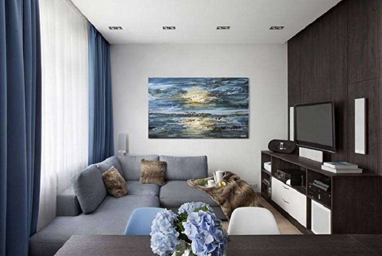 Отделка стен - Дизайн узкой гостиной