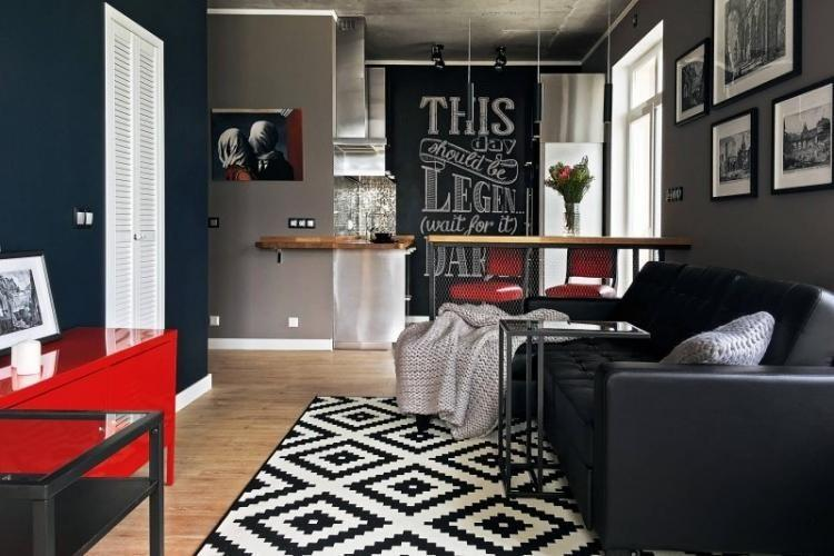 Отделка пола - Дизайн узкой гостиной