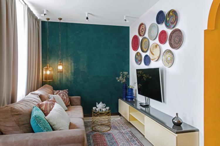 Декор и текстиль - Дизайн узкой гостиной
