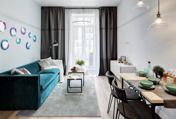 Узкая гостиная - дизайн интерьера фото