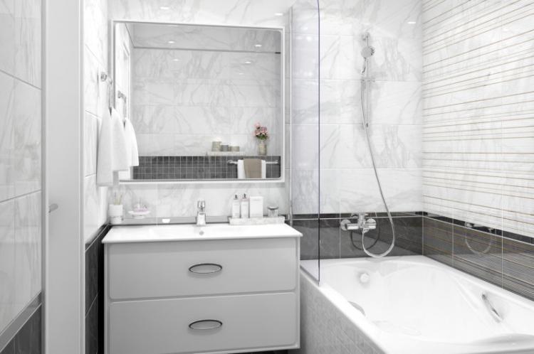 Серая ванная комната 2 кв.м. - Дизайн интерьера