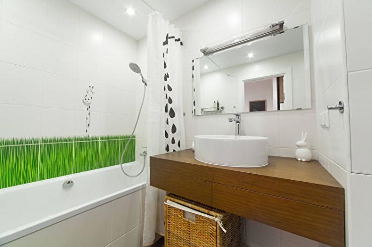Отделка потолка - Дизайн ванной комнаты 2 кв.м.