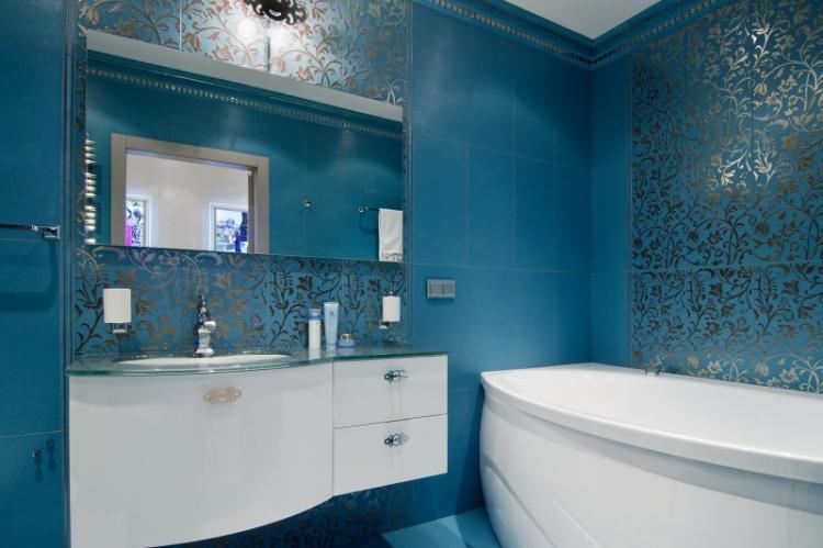Синяя ванная комната - Дизайн интерьера 2019