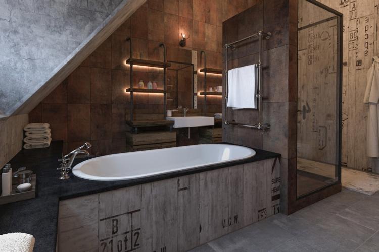 Ванная комната в стиле гранж - Дизайн интерьера 2019