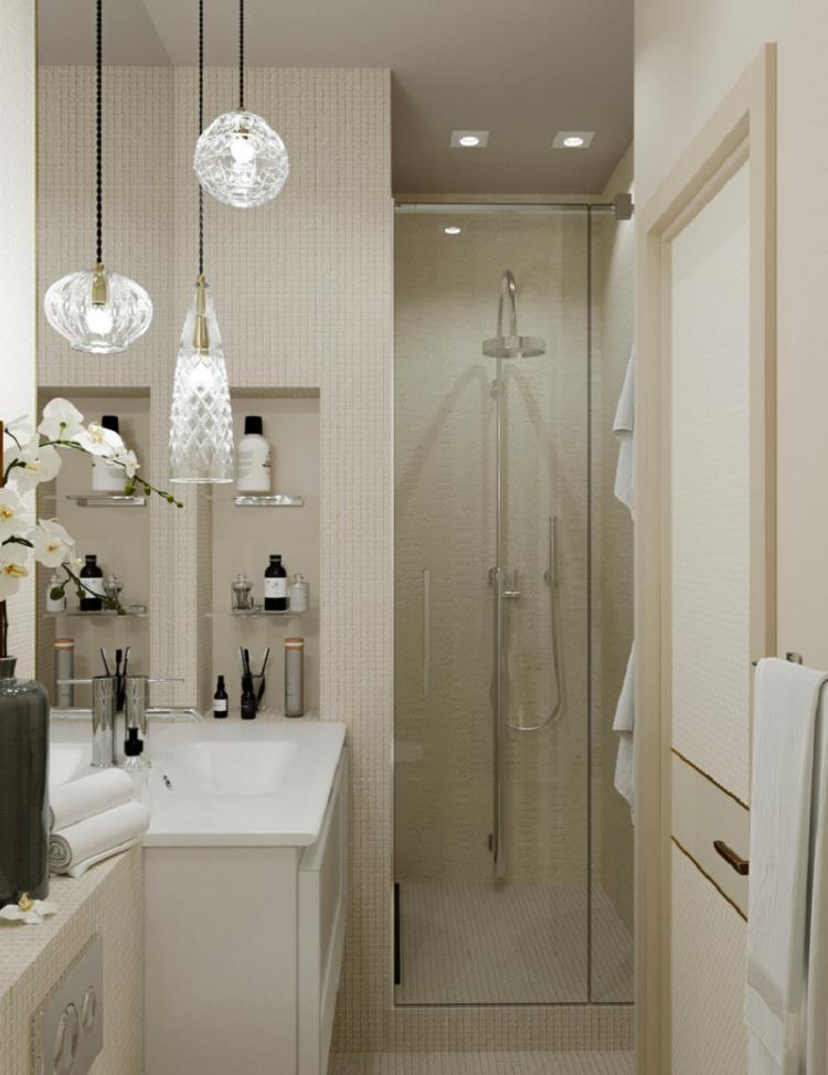 Правильное освещение - Дизайн ванной комнаты 3 кв.м.