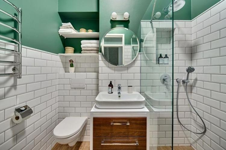 Отделка стен - Дизайн ванной комнаты 4 кв.м.