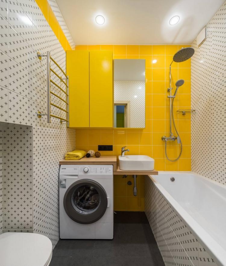 Куда поставить стиральную машину - Дизайн ванной комнаты 4 кв.м.