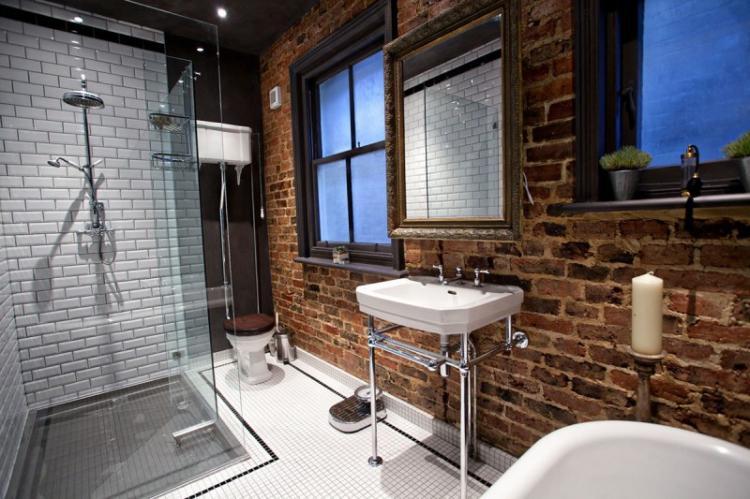 Ванная с душевой кабиной в стиле лофт - Дизайн интерьера