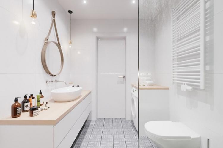 Ванная с душевой кабиной в скандинавском стиле - Дизайн интерьера