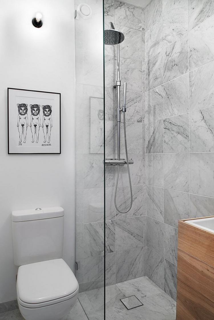 Ванная с душевой кабиной - дизайн интерьера фото