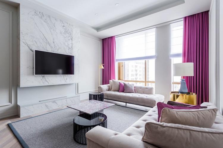 Белый зал в квартире - Дизайн интерьера