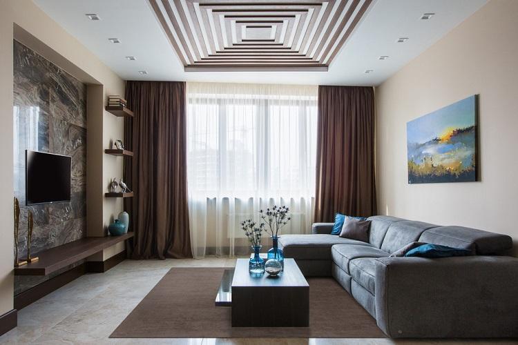 Бежевый зал в квартире - Дизайн интерьера