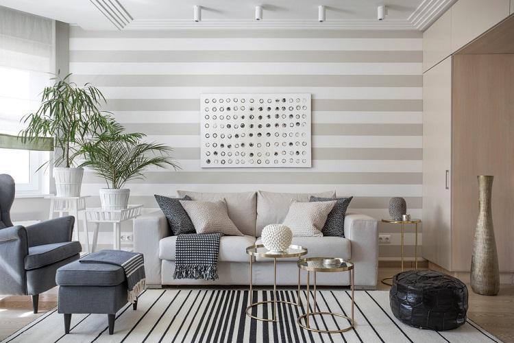 Серый зал в квартире - Дизайн интерьера