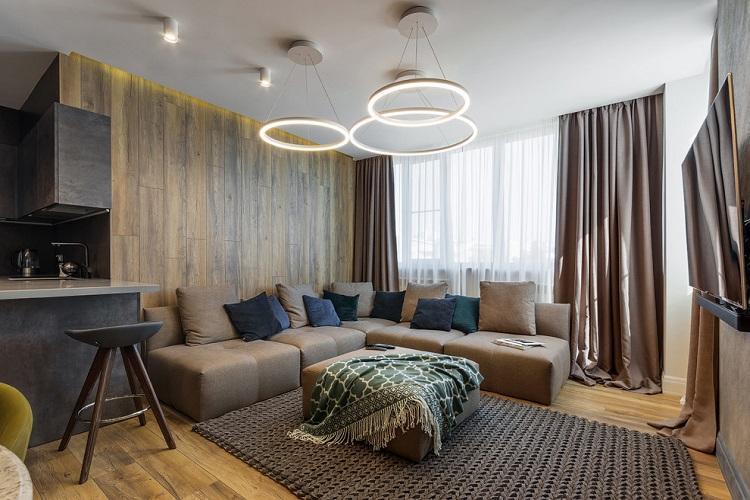 Коричневый зал в квартире - Дизайн интерьера