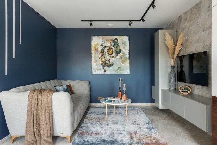 Синий зал в квартире - Дизайн интерьера