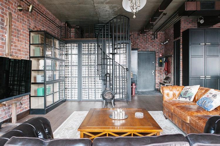 Зал в стиле лофт - Дизайн интерьера