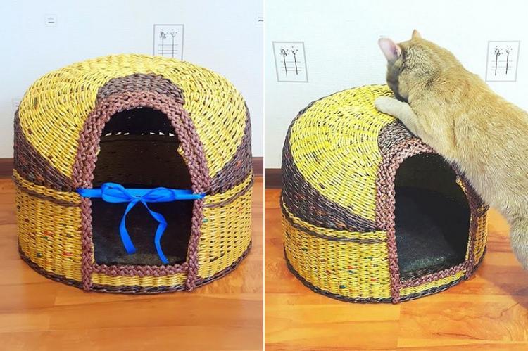 Домик из газетных трубочек - Домик для кошки своими руками