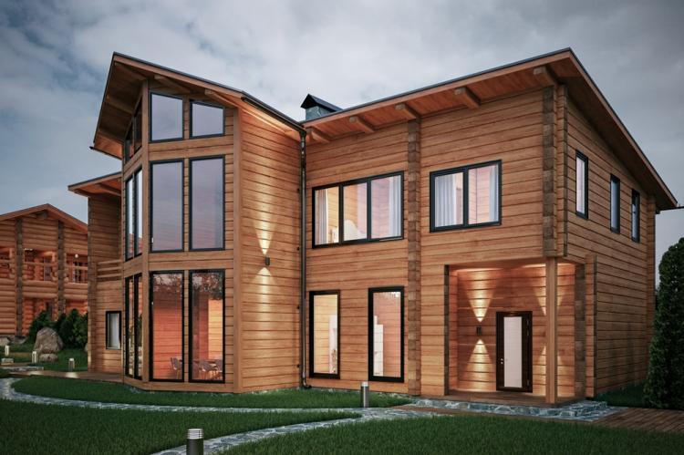 Двухэтажные дома из бруса - проекты и фото