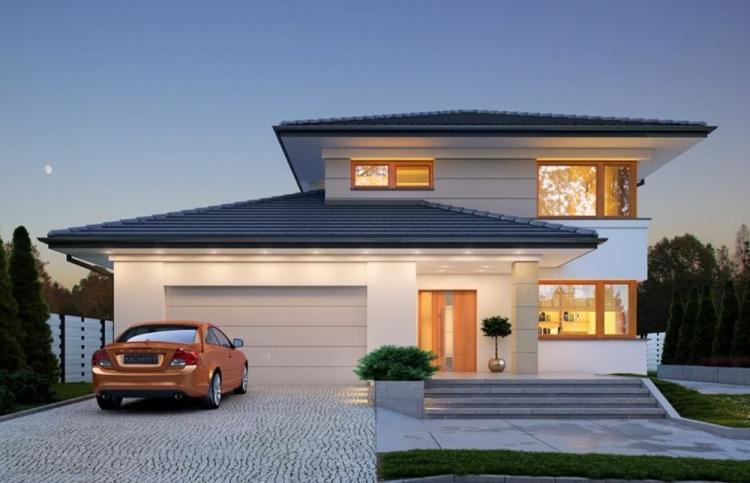 Двухэтажные дома с гаражом - проекты и фото