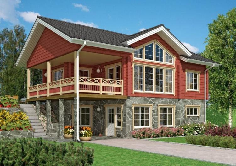 Двухэтажные дома с балконом - проекты и фото