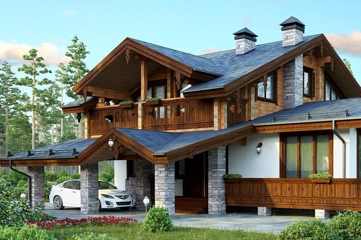 Двухэтажные дома в стиле шале - проекты и фото