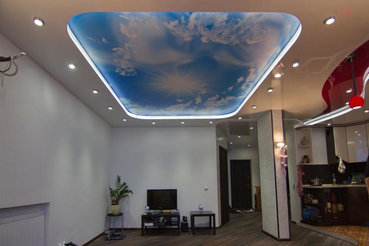 Декоративные эффекты - Двухуровневые натяжные потолки