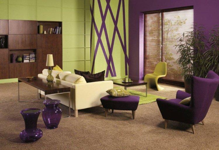 Фисташковый с фиолетовым - Сочетание цветов в интерьере