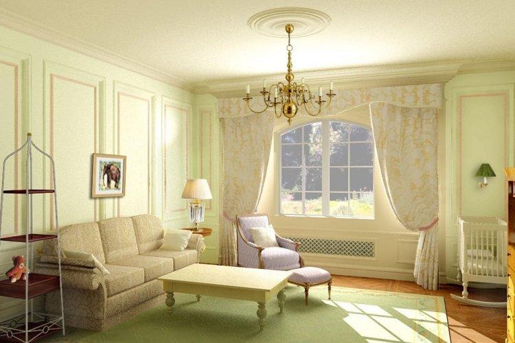 Фисташковый цвет в гостиной - дизайн фото