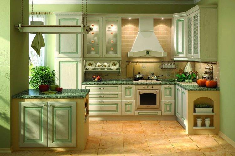Фисташковый цвет на кухне - дизайн фото