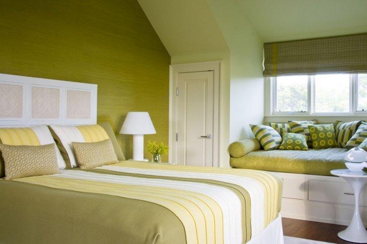 Фисташковый цвет в спальне - дизайн фото