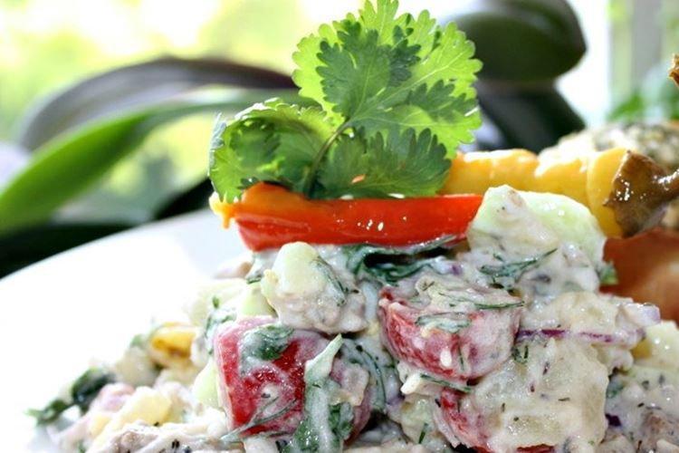 Картофельный салат с мясом