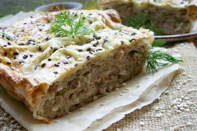 Пирог с мясом из лаваша