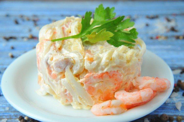 Рыбный салат с креветками «Королевский»