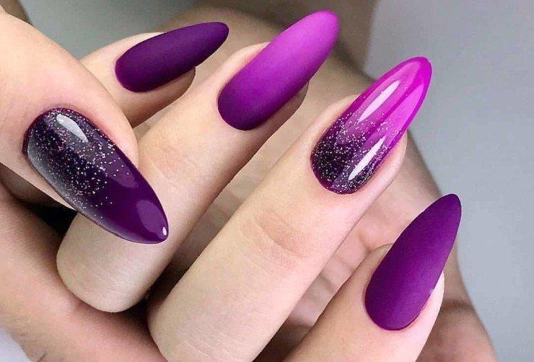 Фиолетовый маникюр на длинные ногти